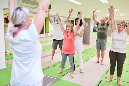 Group,Of,Seniors,Doing,Back,Exercises,In,Physiotherapy,Under,The